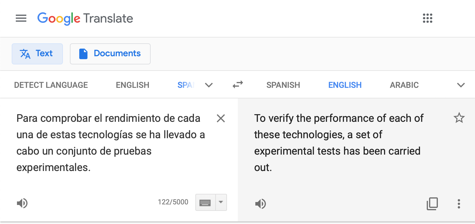 Un texto en Google Translate